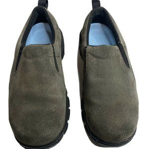 Lands End All Weather Gray Suede Slip On Mocs 6B